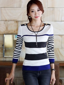 Ericdress Stripe Slim Knitwear