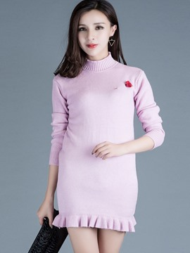 Ericdress Turtle Neck Applique Slim Knitwear