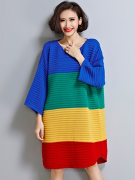 Ericdress Color Block A-Line Loose Sweater Dress