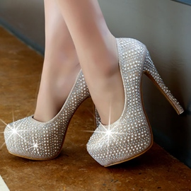 Ericdress Brilliant Rhinestone Round Toe Platform Pumps