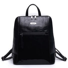 Ericdress Patchwork Waxy Leather Backpack