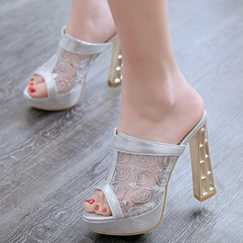 Ericdress Mesh Patchwork Peep Toe Mules Shoes