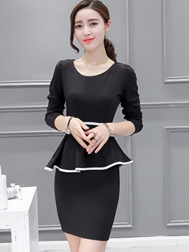 Ericdress Solid Color Double-Layer Bodycon Dress