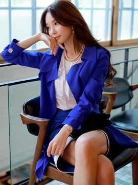 Ericdress Plain Lace-Up Button Slim Trench Coat