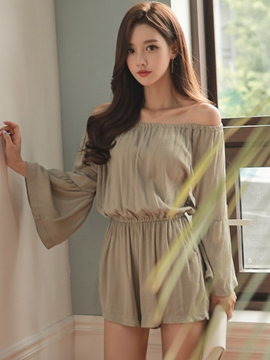 Ericdress Sweet Pleated Flared Sleeve Rompers