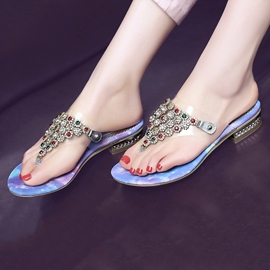 Ericdress Transparent Purple Rhinestone Mule Shoes