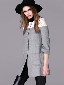 Ericdress European Color Block Coat