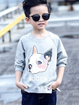 Ericdress Split Animal Printed Thread Collar Boy's Top