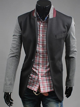 Ericdress Casual Stand Collar Patchwork Men's Blazer