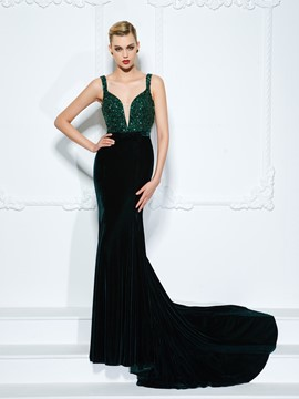 Ericdress Straps Trumpet Beading Bowknot Crystal Sequins Court Train Evening Dress