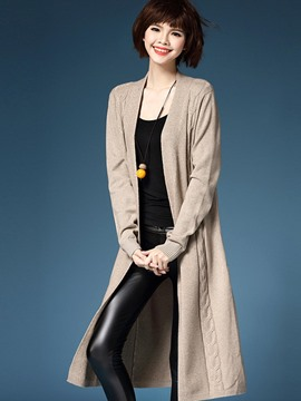 Ericdress Solid Color Wrapped Cardigan Knitwear