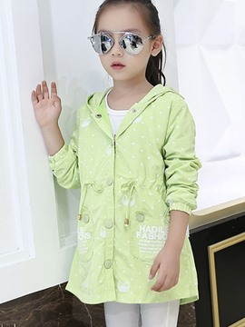 Ericdress Polka Dots Printed Hooded Patchwork Girls Outerwears