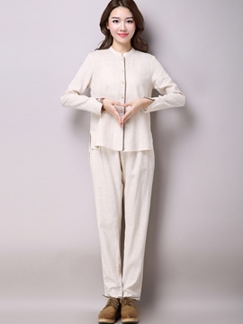 Ericdress Pastoral Solid Color Pants Suit