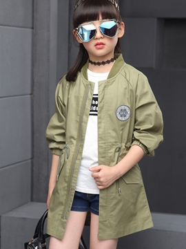 Ericdress Korean Solid Color Thread Collar Girls Outerwears