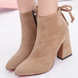 Ericdress Side Zipper Ankle Pointed Toe Chunky Boots