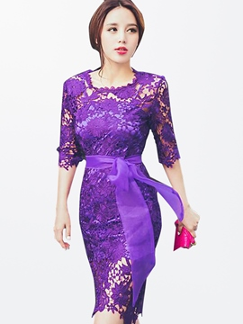Ericdress Purple Lace-Up Lace Dress
