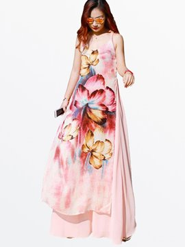 Ericdress Summer Beach Spaghetti Strap Print Floor-Length Maxi Dress