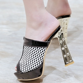Ericdress Color Block Chunky Mules Shoes
