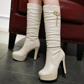 Ericdress Simple Platform Chunky Knee High Boots