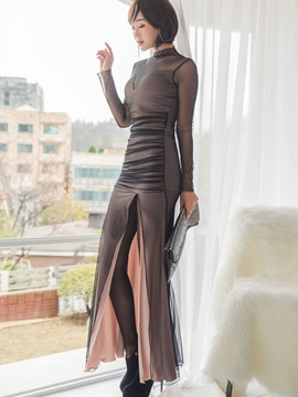 Ericdress Mesh Patchwork Split Maxi Dress