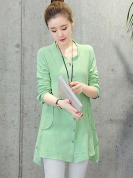 Ericdress Solid Color Button Slim Blouse