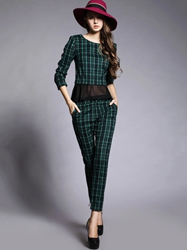 Ericdress Fashion Plaid Suit