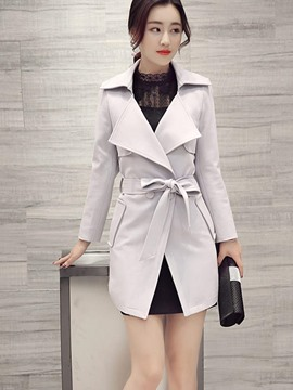 Ericdress Solid Color Polo Belt Trench Coat