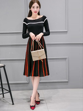 Ericdress Fashion Stripe Skirt Suit