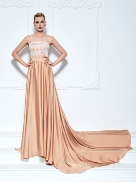 Ericdress A-Line Strapless Lace Sashes Chapel Train Evening Dress