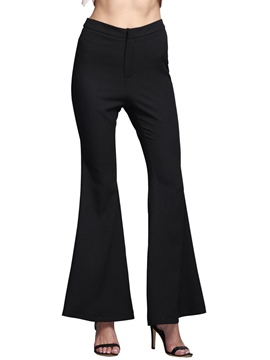 Ericdress Solid Color Flared Pants