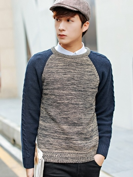 Ericdress Crewneck Color Block Men's Sweater