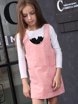 Ericdress Corduroy Suspenders Plain Girls Dress