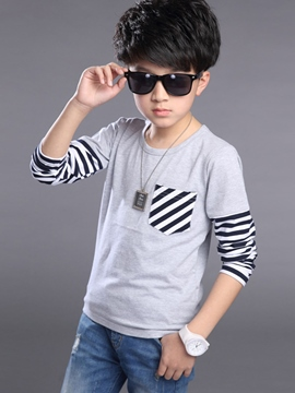 Ericdress Strips Print Patchwork Pocket Boys Tops