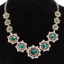 Ericdress Emerald Inlaid Gold Necklace