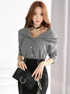 Ericdress Plaid Slash Blouse