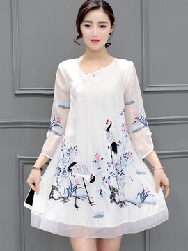 Ericdress White Ethic Print Loose Casual Dress