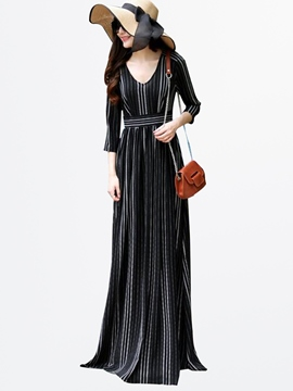 Ericdress Autumn Stripe Floor-Length Maxi Dress