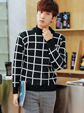 Ericdress Plaid Vogue Men's Sweater