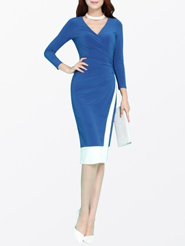 Ericdress Long Sleeve V-Neck Color Block Bodycon Dress