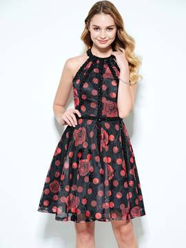 Ericdress Halter A-Line Beading Printed Short Homecoming Dress
