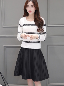 Ericdress Sweet Long Sleeve Stripe Top Suit