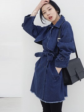 Ericdress Solid Color Slim Denim Outerwear