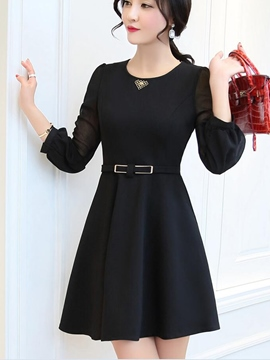 Ericdress Chiffon Sleeve Patchwork Round Neck A-Line Casual Dress