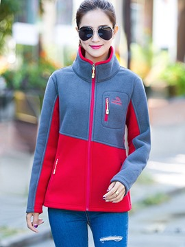 Ericdress Color Block Asymmetric Stand Collar Hoodie