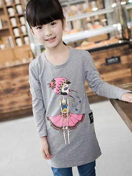Ericdress Cartoon Printed Long Cotton Girls Tops
