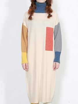 Ericdress Color Block Turtleneck Straight Sweater Dress