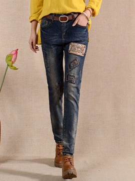 Ericdress Unique Embroidery Jeans