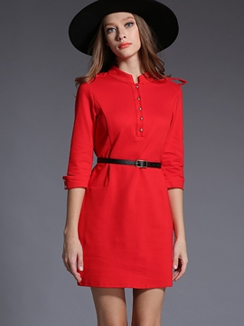 Ericdress Plain Single-Breasted Belt Casual Dress