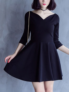 Ericdress Sexy V-Neck Three-Quarter Sleeve A-Line Casual Dress
