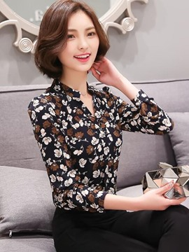 Ericdress Slim V-Neck Floral Printed Blouse